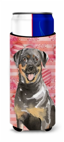 Love a Rottweiler Michelob Ultra Hugger for slim cans Perspective: front