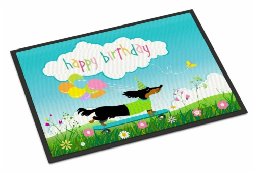Happy Birthday Dachshund Indoor or Outdoor Mat 18x27 Perspective: front