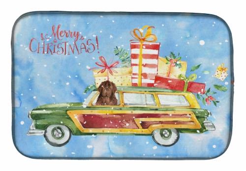 Carolines Treasures  CK2416DDM Merry Christmas Newfoundland Dish Drying Mat Perspective: front