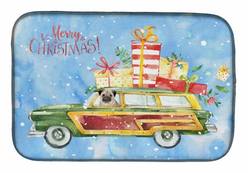 Carolines Treasures  CK2463DDM Merry Christmas Pug Dish Drying Mat Perspective: front