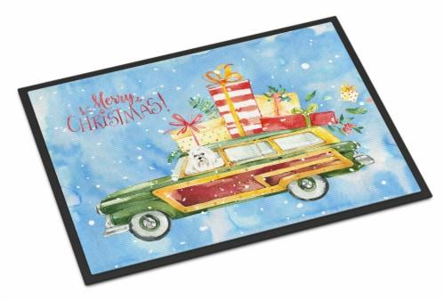 Merry Christmas Maltese Indoor or Outdoor Mat 18x27 Perspective: front