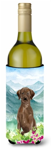Mountian Flowers Chocolate Lab Wine Bottle Beverage Insulator Hugger Perspective: front