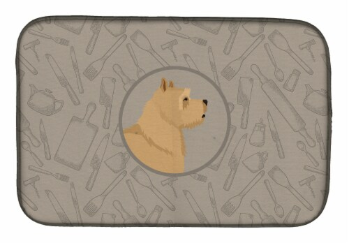 Carolines Treasures  CK2198DDM Norwich Terrier In the Kitchen Dish Drying Mat Perspective: front