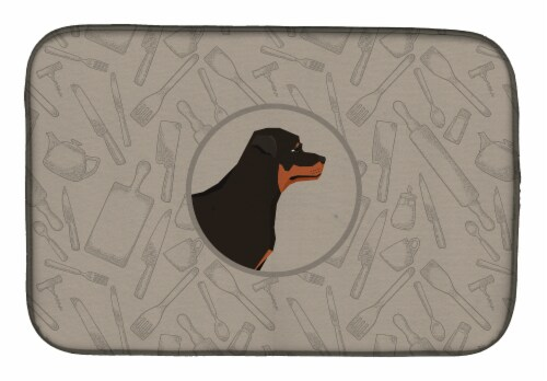 Carolines Treasures  CK2205DDM Rottweiler In the Kitchen Dish Drying Mat Perspective: front