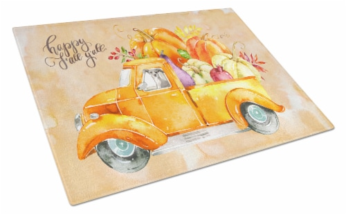 Fall Harvest Italian Greyhound Glass Cutting Board Large Perspective: front