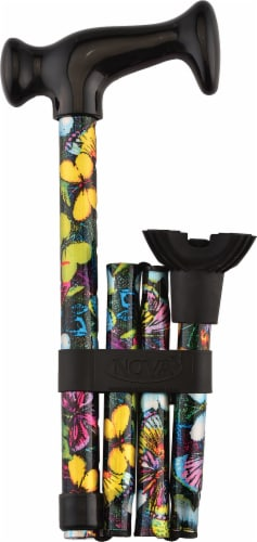 Nova Butterfly Print Folding Quad Cane Perspective: front