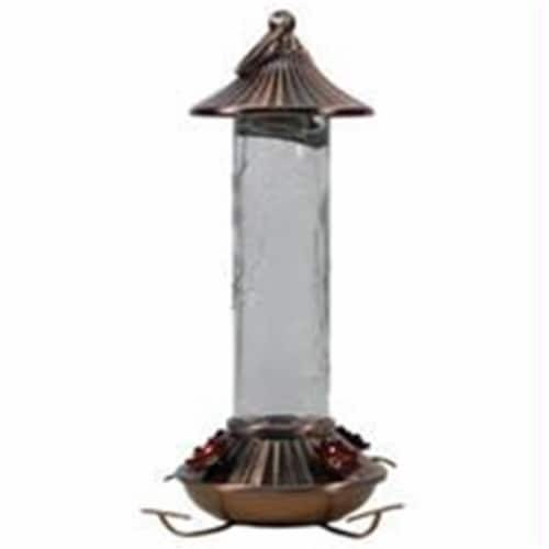 Audubon-Woodlink Etched Hummingbird Feeder- Bronze-Clear 14 Ounce Perspective: front
