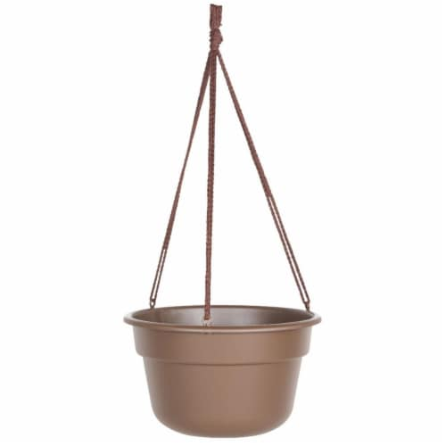 12 in. Dura Cotta Hanging Basket, Chocolate Perspective: front