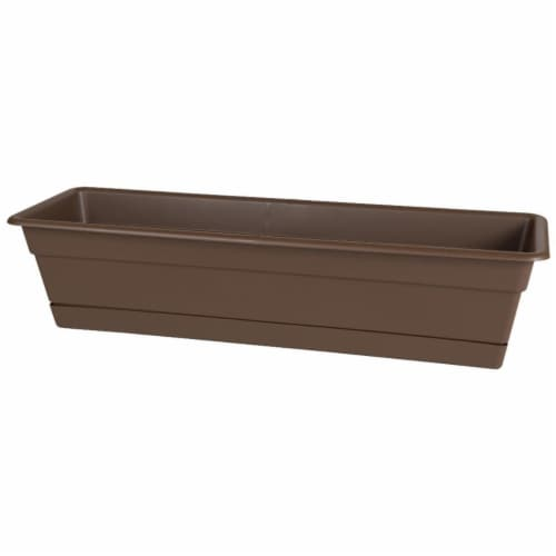 30 in. Dura Cotta Window Box Planter, Chocolate Perspective: front
