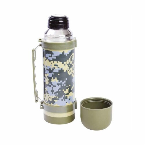 Stainless Steel Digital Camouflage Vaccuum Bottle With Handle Perspective: front
