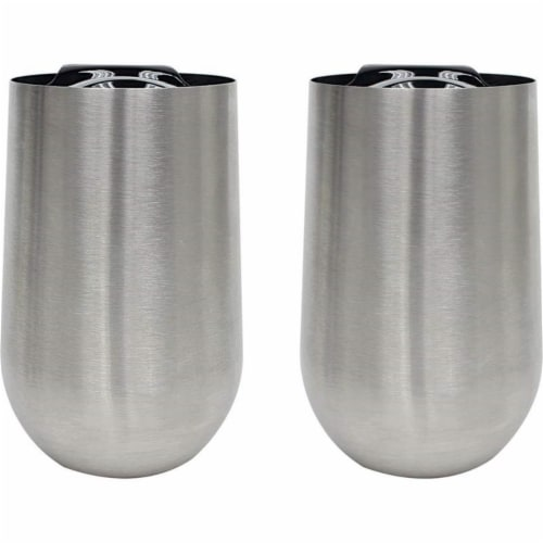 Stainless Steel Stem-Less Wine Glass with Lid - 2 Piece Perspective: front