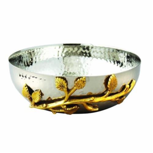 Elegance Gilt Leaf Hammered Stainless Steel Salad Bowl, Silver & Gold Perspective: front