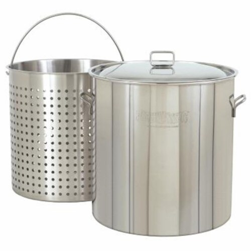 162-Qt. Stockpot with Lid and Basket Perspective: front