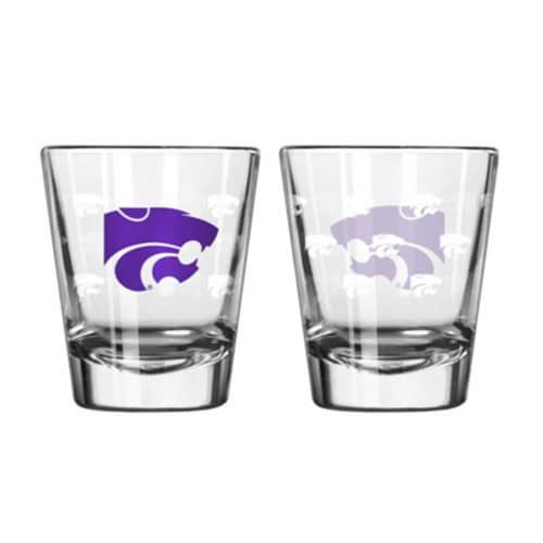 Kansas State Wildcats Shot Glass - 2 Pack Satin Etch Perspective: front