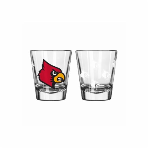 Louisville Cardinals Shot Glass - 2 Pack Satin Etch Perspective: front