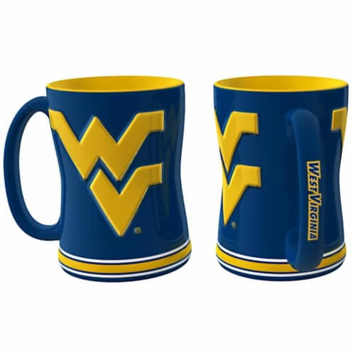 West Virginia Mountaineers Coffee Mug - 14oz Sculpted Relief Perspective: front