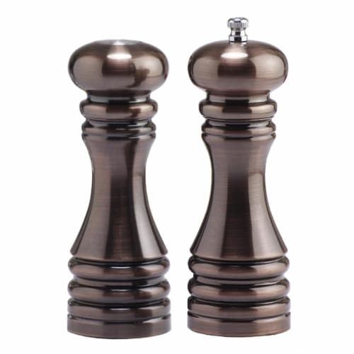 7 Inch - Burnished Pepper Mill And Salt Shaker Set Perspective: front