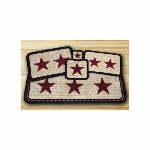 Wicker Weave Trivet, Burgundy Star, Perspective: front