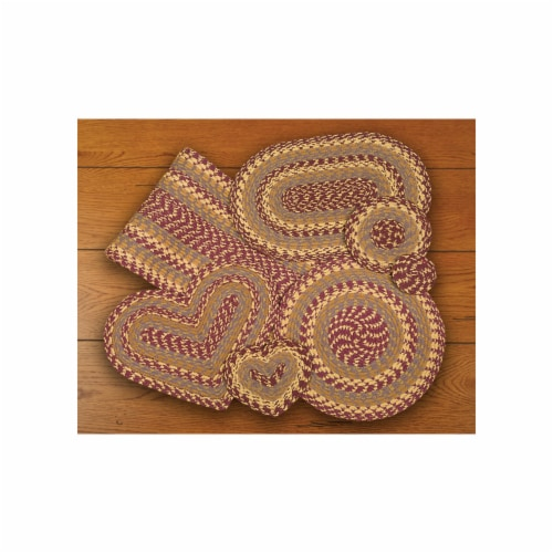 Burgundy-Gray-Mustard Round Trivet Perspective: front