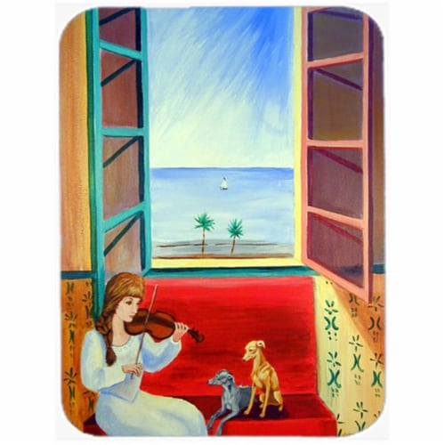 Italian Greyhounds with Mom and Violin Glass Cutting Board - Large, 15 x 12 in. Perspective: front