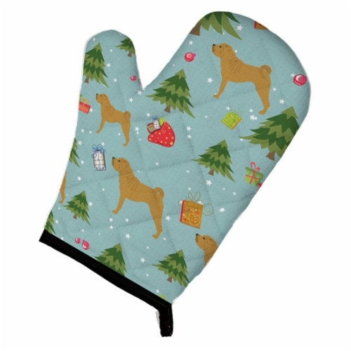 Christmas Shar Pei Oven Mitt Perspective: front