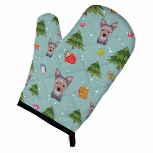 Christmas Yorkie Puppy Oven Mitt Perspective: front