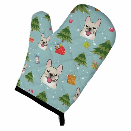 Christmas French Bulldog Oven Mitt Perspective: front