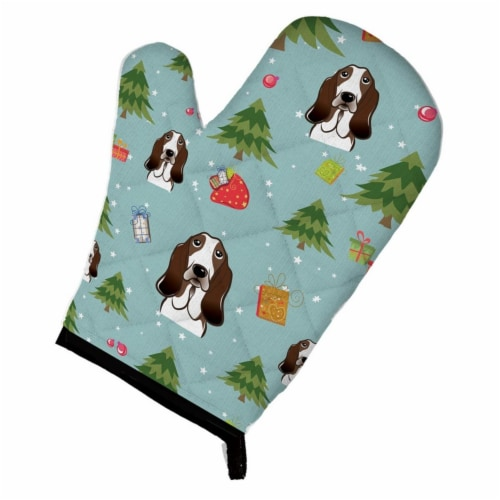 Christmas Basset Hound Oven Mitt Perspective: front