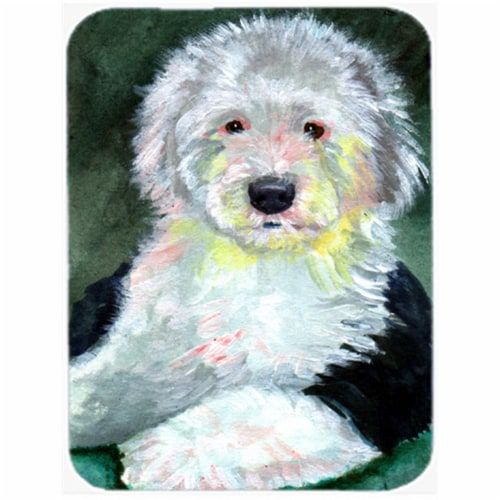 Old English Sheepdog Glass Cutting Board - Large, 15 x 12 in. Perspective: front