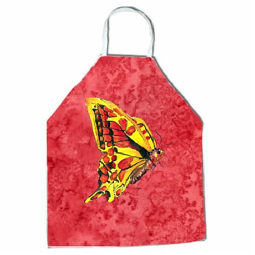 27 H x 31 W in. Butterfly on Red Apron Perspective: front