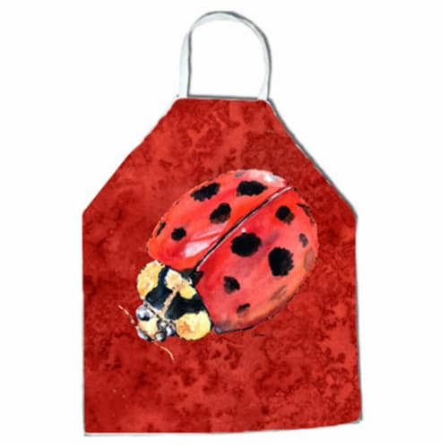 27 H x 31 W in. Lady Bug on Deep Red Apron Perspective: front