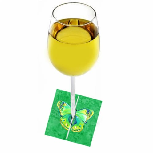 Butterfly Green On Green Fabric Wine Marker Perspective: front