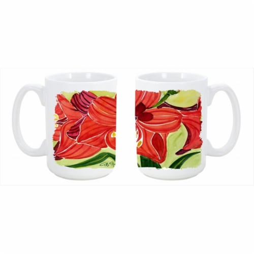 Flower Amaryllis Dishwasher Safe Microwavable Ceramic Coffee Mug Perspective: front