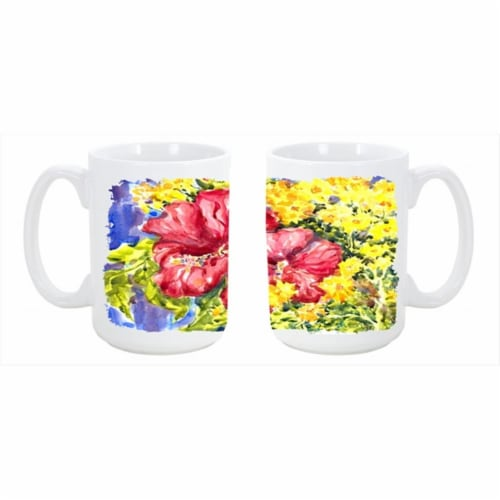 Flower Hibiscus Dishwasher Safe Microwavable Ceramic Coffee Mug Perspective: front