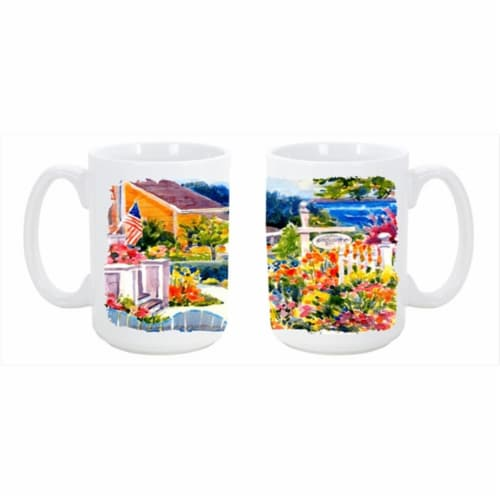 Seaside Beach Cottage Dishwasher Safe Microwavable Ceramic Coffee Mug Perspective: front