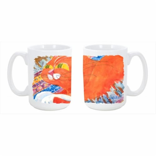 Cat Dishwasher Safe Microwavable Ceramic Coffee Mug Perspective: front