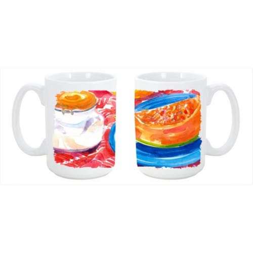 A Slice of Cantelope Dishwasher Safe Microwavable Ceramic Coffee Mug Perspective: front