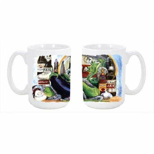 Eggplant and New Orleans Beers Dishwasher Safe Microwavable Ceramic Coffee Mug 15 oz. Perspective: front