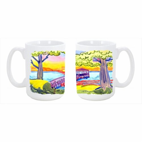Dock at the pier Dishwasher Safe Microwavable Ceramic Coffee Mug 15 oz. Perspective: front