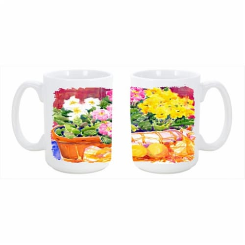 Flower - Primroses Dishwasher Safe Microwavable Ceramic Coffee Mug 15 oz. Perspective: front