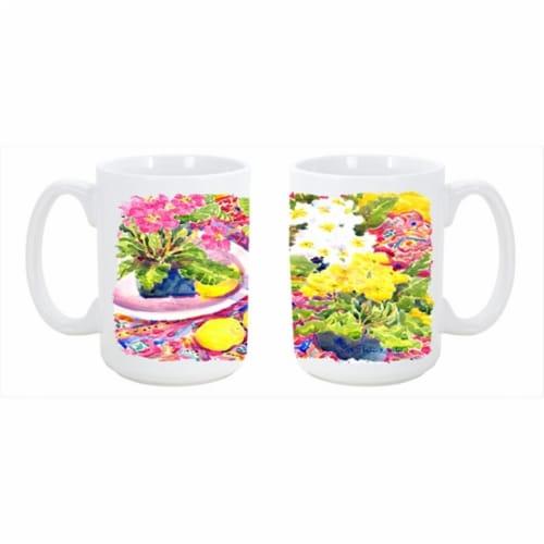 Flower - Primroses Dishwasher Safe Microwavable Ceramic Coffee Mug 15 oz. Perspective: front