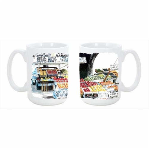 Fruit Stand Dishwasher Safe Microwavable Ceramic Coffee Mug 15 oz. Perspective: front