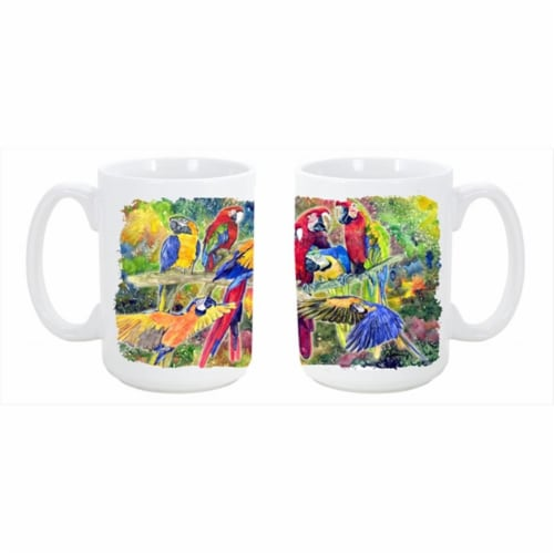 Parrot Dishwasher Safe Microwavable Ceramic Coffee Mug 15 oz. Perspective: front