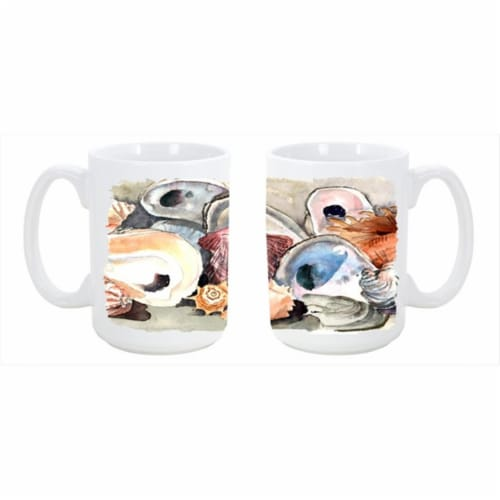 Sea Shells Dishwasher Safe Microwavable Ceramic Coffee Mug 15 oz. Perspective: front
