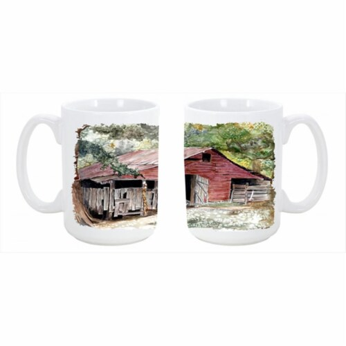 Old Barn Dishwasher Safe Microwavable Ceramic Coffee Mug 15 oz. Perspective: front