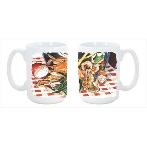Crab Boil Dishwasher Safe Microwavable Ceramic Coffee Mug 15 oz. Perspective: front