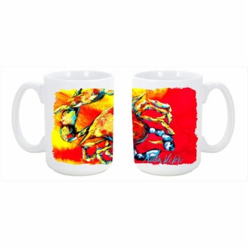 Crab Hot Dang Dishwasher Safe Microwavable Ceramic Coffee Mug 15 oz. Perspective: front