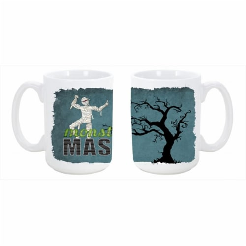 Monster Mash with Mummy Halloween Dishwasher Safe Microwavable Ceramic Coffee Mug 15 oz. Perspective: front