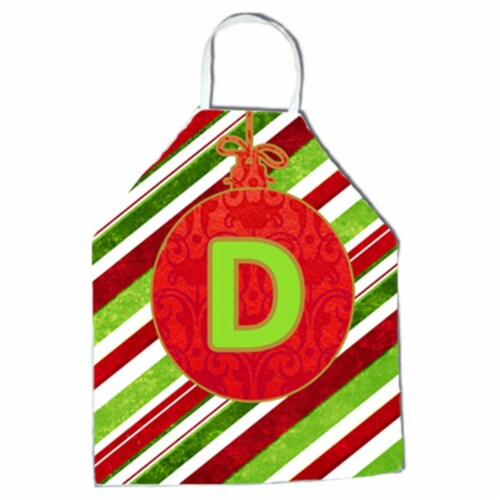Christmas Oranment Holiday Initial Letter D Apron Perspective: front