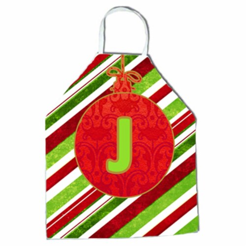 Christmas Oranment Holiday Initial Letter J Apron Perspective: front